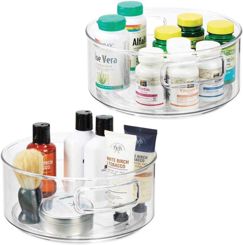 mDesign Juego de 2 bandejas organizadoras – Organizador de medicamentos giratorio – Organizador de medicinas para el botiquín – transparente