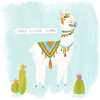 Pom Pom Llama Rama II by June Erica Vess Art Print, 10 x 10 inches