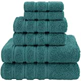 American Soft Linen Towel Set, 2 Bath Towels 2 Hand Towels 2 Washcloths Super Soft and Absorbent 100% Turkish Cotton Towels for Bathroom and Kitchen Colonial Blue