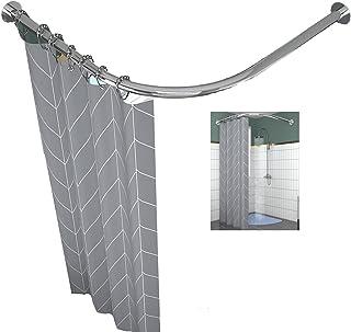 L-Shaped Curved Shower Curtain Rod, Bath Tub Shower Curtain Rail Poles Extendable Telescopic Shower Curtain Pole, Not Sagg...