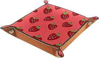 ATOMO Plateau de rangement en cuir avec motif fraises rouges sur fond rose pour clés, bijoux, articles divers, objets dive...