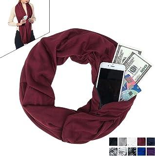 Pocket Scarf - Infinity Scarf With Pocket Travel Scarf Zipper Scarfs For Women Winter Warm Infinity Scarves Wrap