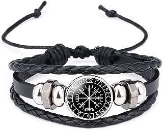 Odin's Crow Raven Valknut Charm Leather Cords Braided Bracelet Handmade Viking Runes Amulet Ethinic Adjustable Bracelet Unisex (Vegvisir)