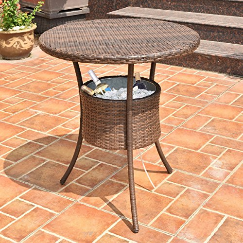 Premium Patio Outdoor Cooler Table Furniture Rattan Wicker Made for Outdoor Garden Beach Patio and Poolside.