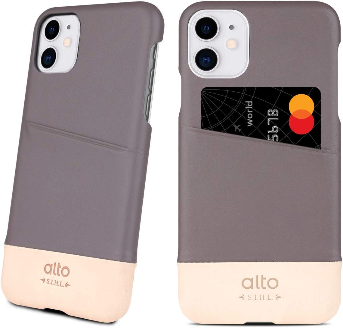 Alto Metro Leather Case for iPhone 11 Pro (5.8 inch), Premium Italian Leather Wallet Case with Card Holder Design (Cement Grey/Original)