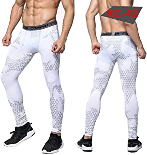 HOOLAZA Men Camouflage Printing Compession Tights Sports Training Pants Running Workout Trousers