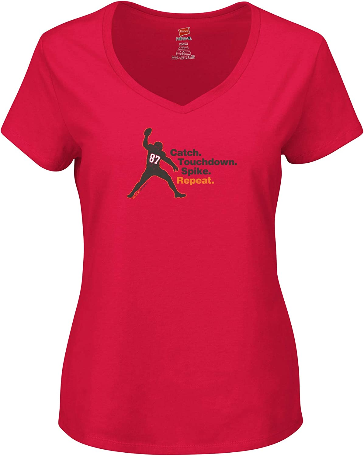 Repeat Smack Apparel Tampa Bay Football Fans Touchdown Catch Red Womens V-Neck or Racerback Sm-2X Spike