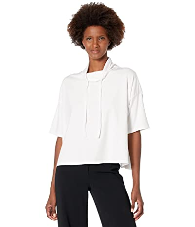 Eileen Fisher Funnel Neck Elbow Sleeve Boxy Top in Organic Cotton Stretch Jersey