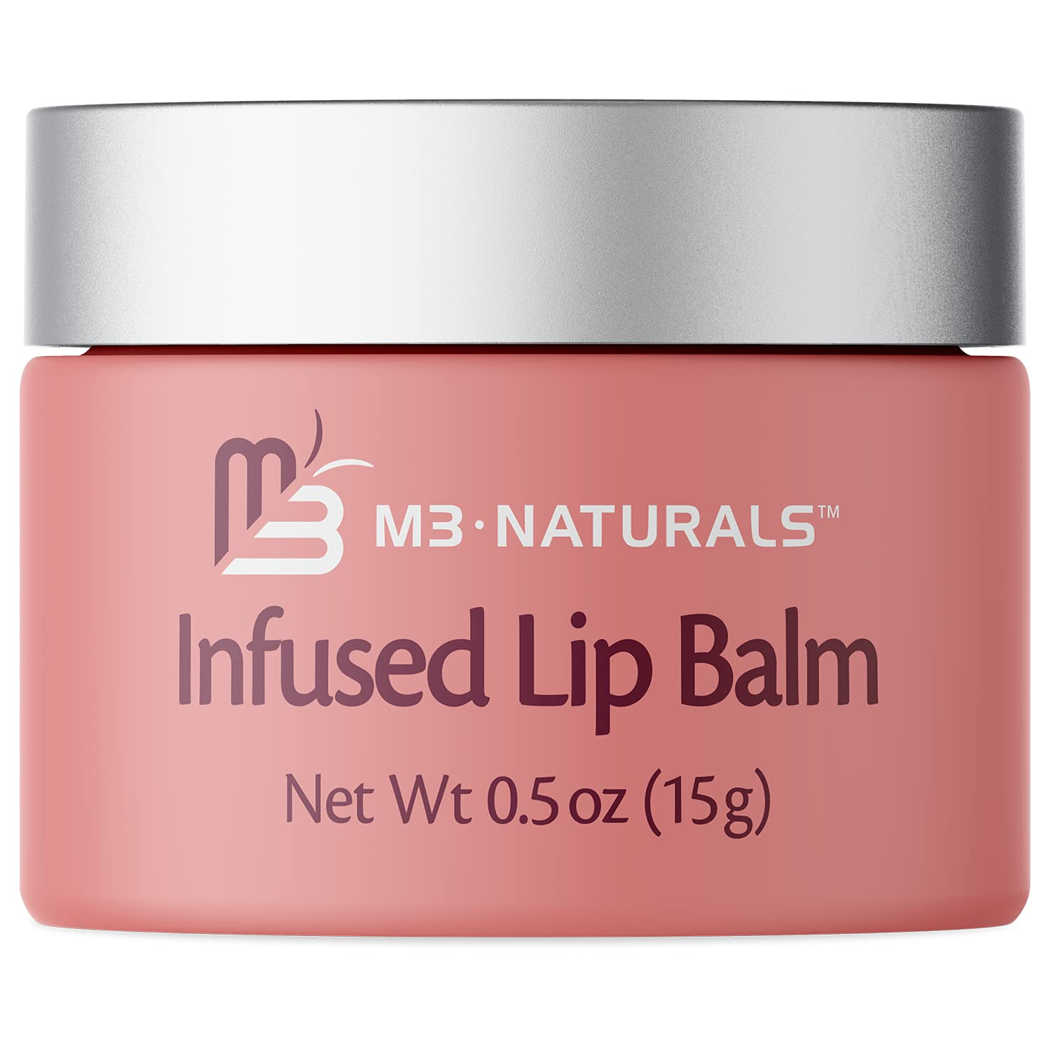 M3 Naturals Infused Lip Balm – Collagen and Stem Cell Infused – Instantly Hydrating Ingredients to Moisturize & Condition Lips – With Vitamin E + Shea Butter + Jojoba Oil + Castor Oil .5 oz