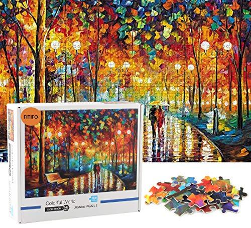 FITIFO Puzzle 1000 Teilefür Erwachsene und Kinder ab 14 Jahren Farbenfrohes Puzzle Familienspaß Pädagogisches Spielzeug 70x50cm Wohnkultur Geschenk für für Papa Mutter (Regnerischer...