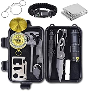 Alritz Emergency Survival Kit, 12 in 1 Outdoor Survival Gear Lifesaving Tools Contains Compass, Fire Starter, Flashlights for Camping Hiking Wilderness Adventures and Disaster Preparedness