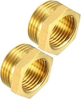uxcell Brass Threaded Pipe Fitting G3/4 Male X G1/2 Female Hex Bushing Adapter 2pcs