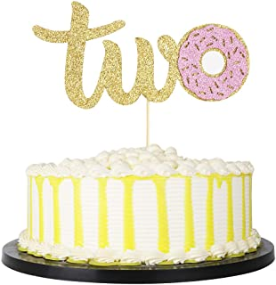 Handmade Donut 2st Birthday Two Cake Topper,Second Bday Donut Grow Up Party Decoration (Pink)
