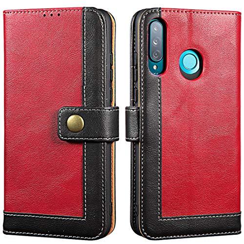 LENSUN Hülle für Huawei P30 Lite, Klapphülle Leder Schutzhülle, Flip Hülle Tasche mit Magnetverschluss für Huawei P30 Lite New Edition – Wein Rot (P30L-TK-WR)