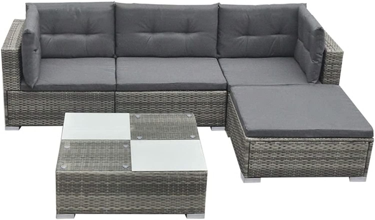 Festnight Garden Lounge Set Patio Safe Set 14 Pcs with Removable Cushions Furniture Set for Family Party and Gathering Poly Rattan Grey