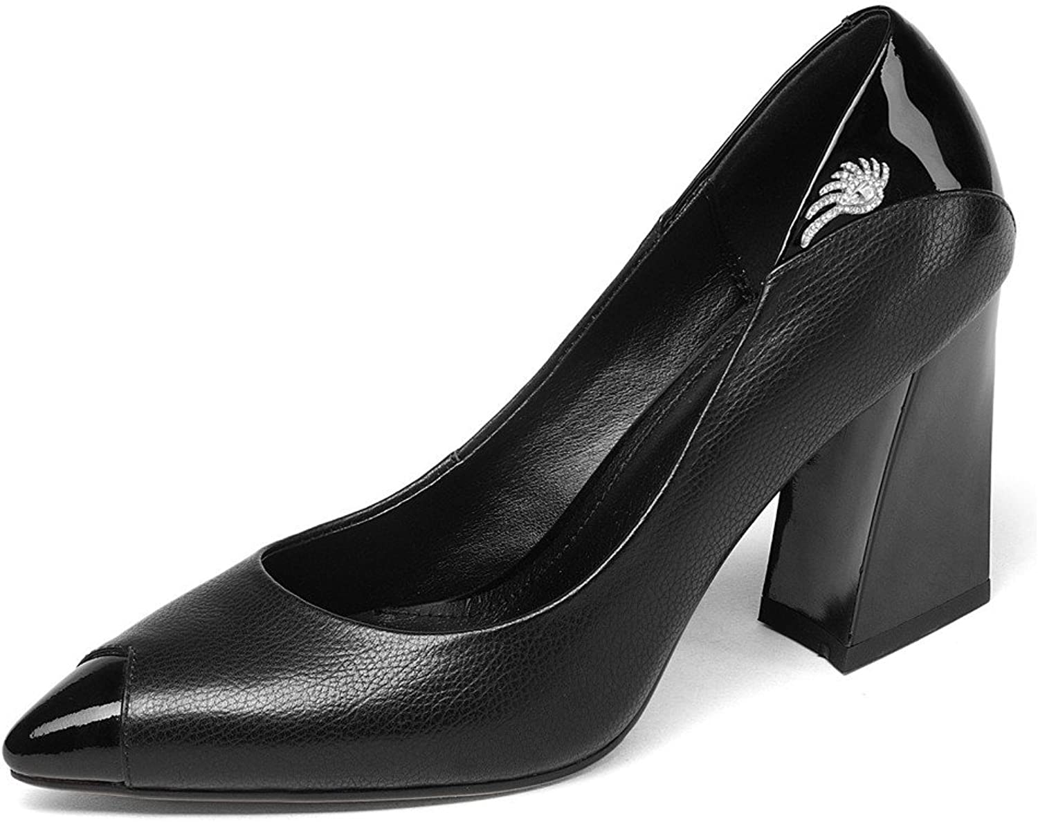 Nine Seven Genuine Leather Women's Pointy Toe Chunky Heel Business Office Handmade Classy Pumps shoes