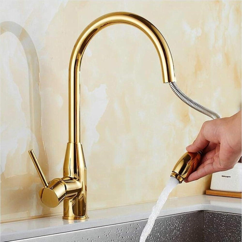 PUSMASH Neue Ankunft Küchenarmatur Gold fertig Messing Spülbecken herausziehen Küchenarmatur, Waschbecken Mischbatterie mit herausziehen Duschkopf