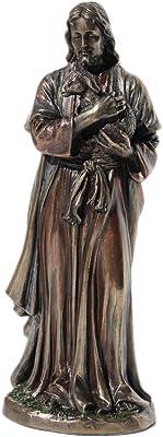 6.25 Inch Jesus Holding A Lamb Cold Cast Bronze Figurine Statue