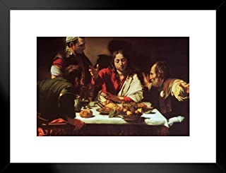 Caravaggio The Supper at Emmaus 1601 Oil On Canvas Italian Art Poster - 12x18 Art Print Framed Matted in Black Wood 20x26 ...