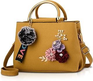 NICOLE&DORIS Women Leather Handbag Shoulder Bags with Flower Vintage Handle Bag Designer Tote Purse with Pompom