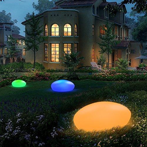 Blibly Solar Garden Lights Outdoor Glow Cobblestone Shape Lamp Garden Decor Light-White & RGB Lights Waterproof Landscape Night Lights for Lawn/Patio/Path