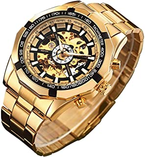 Gute Watches for Men, Skeleton Automatic Mechanical Wrist Watch, Luxury X Dial Steampunk Sport Business Stainless Steel Watch