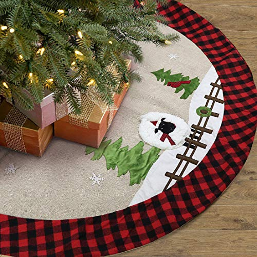 GMOEGEFT Christmas Tree Skirt Burlap with Buffalo Check Trim Rustic Farm Pasture Sheep and Tree Applique Xmas Home Decoration Ornaments (48 Inches)