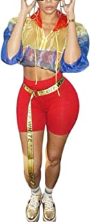 Women 2 Piece Outfits Jumpsuit Sexy Sheer Crop Tops + Long Pants Set Tracksuit