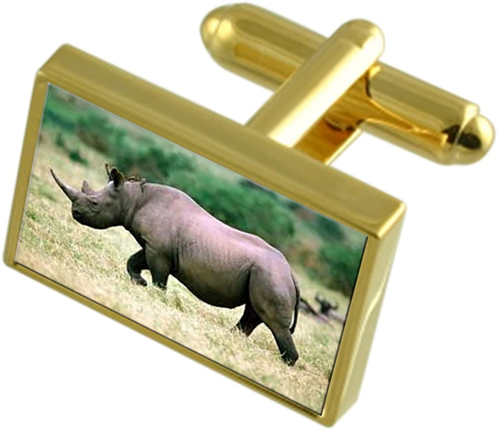 Outstanding Select Gifts Rhino African Message Engraved 55% OFF Gold-Tone Cufflinks