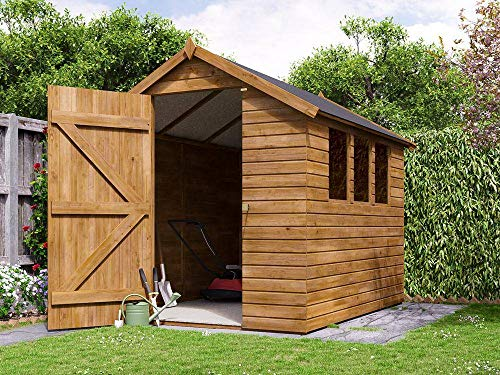 Dunster House 1.8m x 2.5m (6'x8') Heavy Duty Apex Shed Large Pressure Treated Wooden Garden Building - Adam II