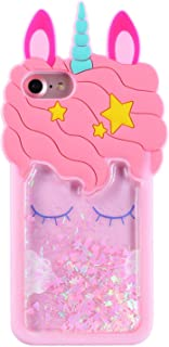 "FunTeens Bling Unicorn Case for iPhone 8/7 /6s /6 4.7"",3D Cartoon Animal Design Cute Soft Silicone Quicksand Glitter Stars Cover,Kawaii Fashion Cool Skin for Kids Child Teens Girls(iPhone6 7 8)"