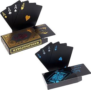 hopewey 2 x Naipes Negro Tarjetas Impermeables del póker Naipes plásticos del PVC Naipes Profesionales Superiores para el póker de Tejas Holdem - 1 Oro y 1 Negro