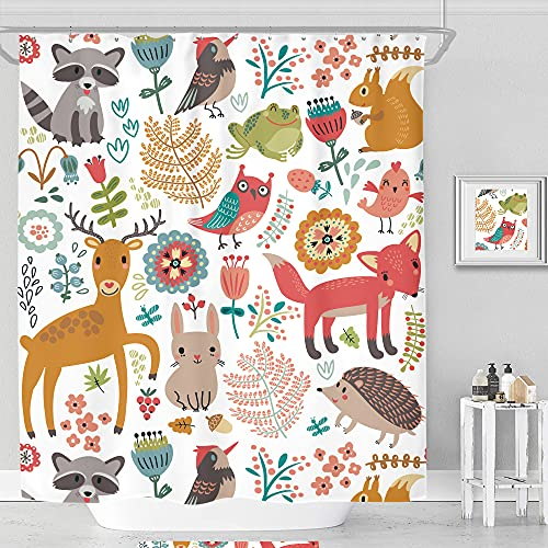 SVBright Children Kid Woodland Shower Curtain Colorful Cute Cartoon Forest Animals 72Wx72L Inch Funny Plants 12 Pack Hooks Polyester Waterproof Fabric Bathroom Bathtub Panels