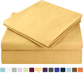 HOMEIDEAS Bed Sheets Set Extra Soft Brushed Microfiber 1800 Bedding Sheets - Deep Pocket, Hypoallergenic, Wrinkle & Fade Free - 4 Piece(Queen,Gold)