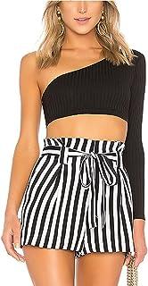 ملابس النساء تي شيرت Long Sleeve Short Sleeve T-shirt تي شيرت (Color : Black, Size : L)