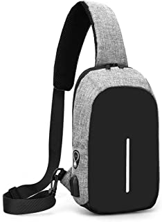 Chest Bag Shoulder Messenger Bag Male Student Canvas Casual Chest Small Backpack (Color : Gray)