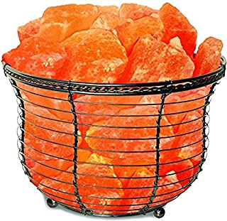 Himalayan Glow Tall Round Basket 1301B Night Light Salt Lamp with Pink Salt Chunks