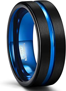 SHINYSO Mens Wedding Band 6mm 8mm Tungsten Rings for Men Women Blue Center Groove Matte Finish Comfort Fit