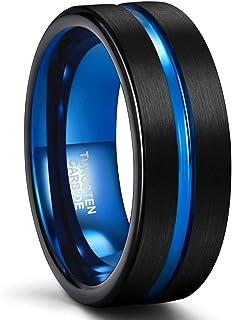 SHINYSO خاتم زفاف رجالي 6 ملم 8 ملم خواتم التنجستين للرجال النساء الأزرق مركز الأخدود ماتي إنهاء الراحة صالح