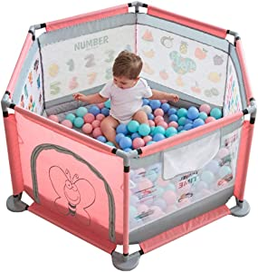 WJSW Safety Baby Playpens with Cotton Mat Indoor Playground Protective Playmats Toddler Play Ground Crawling Fence 127cm Diameter 65cm Height Pink