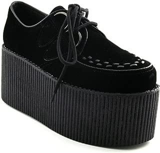 Womens Platform Retro Black Faux Suede Tripple Creeper Shoes