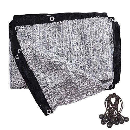 soclerg 70% Aluminet Shade Cloth Fabric Sun Block Sun Reflect Included 12pcs Ball Bungees (10ft X 10ft)