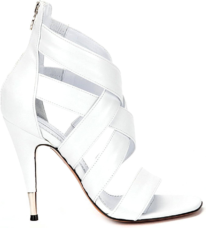 NANDO MUZI 1756 White Leather Italian Designer 4  High Heel Sandals