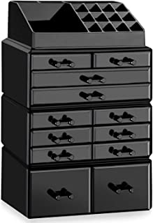 hblife Makeup Organizer Acrylic Cosmetic Storage Drawers and Jewelry Display Box with 12 Drawers, 9.5