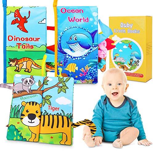 Stoffbuch für Babys,Badebuch für Babyparty,Baby Stoffbuch,Soft Bilderbuch Bunt Weiches Bilderbuch Baby aus Stoff mit Raschelpapier Baby Buch zur Stärkung der Eltern-Kind-Beziehung