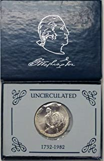 1982 D US Commemorative George Washington 90% Silver Half Dollar Brilliant Uncirculated US Mint