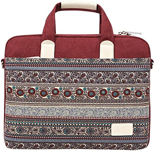 Angelhjq 13-13,3 Zoll Bohemian Laptop Stil Laptop Handtasche Canvas Serviette für Apple iPad Pro und Laptop Netbook MacBook Pro MacBook Air, rot, 36 cm
