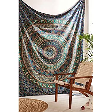 Third Eye Export Indian Mandala Beach Throw Hippie For Bedroom Home Decor Dorm Wall Hanging medallion Bohemian Blue Boho Tapestry Elephant Bedspread Tapestries (Blue Queen)