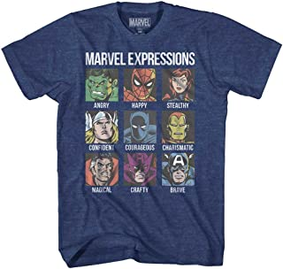 Avengers Expression Moods Spider-Man Hulk Thor Iron Man Black Panther Strange America Mens Adult T-Shirt