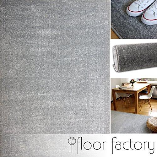 floor factory Tappeto Moderno Kolibri Grigio Argento 120x170cm - Colori Vivaci e Facile da Pulire